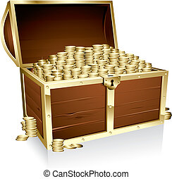 Empty treasure chest - Illustration of a wooden treasure...