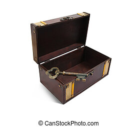 empty Treasure chest with vintage key