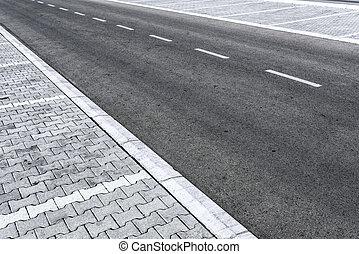 Empty two lane asphalt road highway