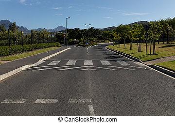Empty two-way asphalt road