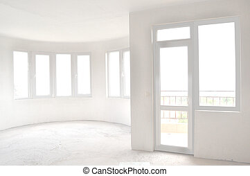 Empty unfinished room in a new constructed building