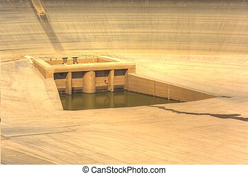 Empty upper dam of the pumping hydroelectric power plant in the Czech Republic