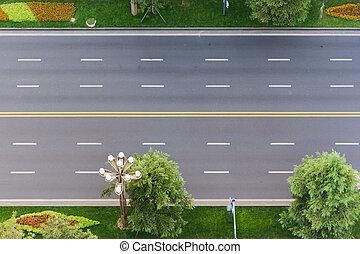 empty urban highway vertical aerial view