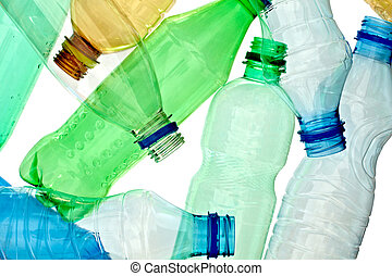 close up of empty used plastic bottles on white background with clipping path
