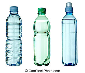 collection of empty used plastic bottles on white background. each one is shot separately