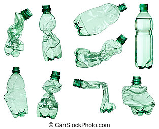 empty used trash bottle ecology environment - collection of...