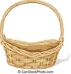 empty vector basket on white background