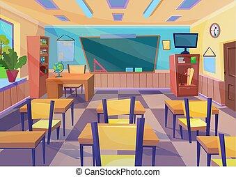 Empty vector flat cartoon school class room interior with board desk.