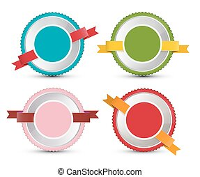 Empty Vector Label Set. Retro Circle Tags Isolated on White Background.
