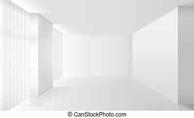 Empty vector white interior. Wall room and floor, clear...