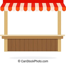 Empty vegetable trading tent vector flat isolated