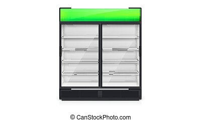 Empty vendor machine with green lightbox. Realistic icon, front view. Vector 3d illustration