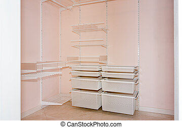 empty walk in closet. Empty Walk-in Closet With Shelves. Dressing Room Interior Elements. Walk In S