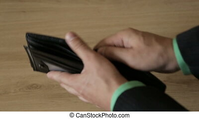 Empty wallet in the hands of a man - An empty leather purse...