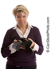 Empty wallet - Woman holding her wallet open which is only...