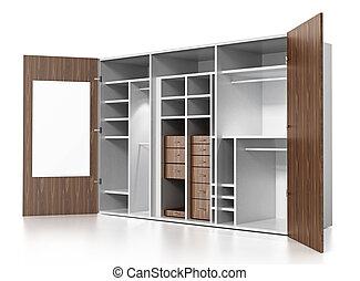 Empty Wardrobe Isolated On White Background 3D Illustration