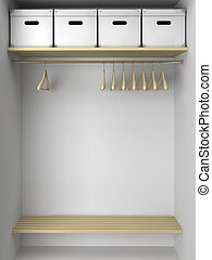 Empty wardrobe with hangers and boxes illustration