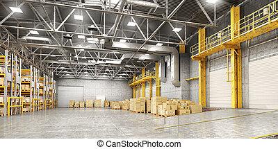 Empty warehouse full of cargo. 3d illustration