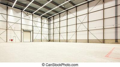 Interior of a huge emptyt warehouse