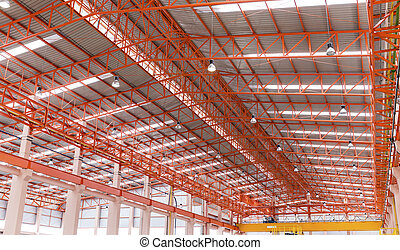 Empty warehouse with metal roof