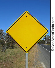Empty warning road sign - Empty yellow warning sign. Add any...