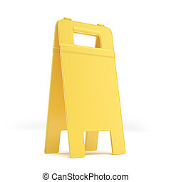 Empty wet floor sign isolated on a white background