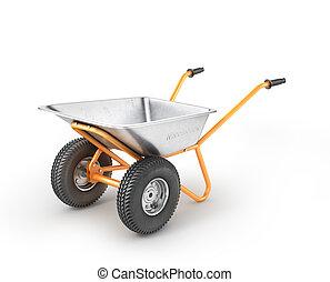 Empty wheelbarrow on a white background. 3d illustration