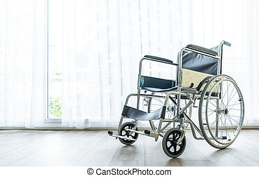 empty wheelchair in a room