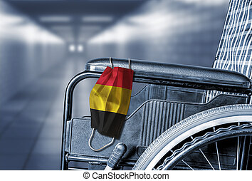 Empty Wheelchair in Hallway of Belgium Hospital or Long Term Care Home
