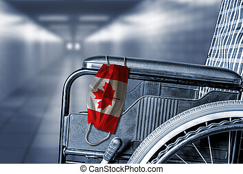 Empty Wheelchair in Hallway of Canadian Hospital or Retirement Care Home