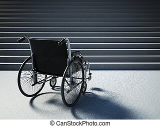 Empty wheelchair standing in front of steep staircase. 3D...