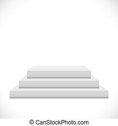 Empty white 3 steps podium vector template.