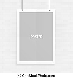 Empty white A4 sized vector paper mockup hanging with paper clips. Show your flyers, brochures, headlines etc with this highly detailed realistic design template element