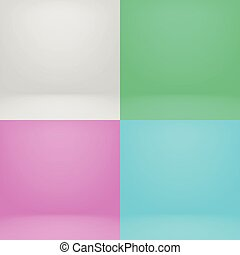 Empty white and color 3d studio room vector photo backgrounds set