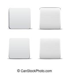 Empty White App Button Icons Set