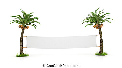 Empty white banner stretched between two palm trees. Concept...