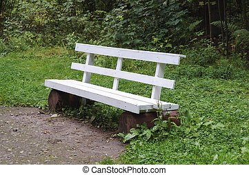 Empty white bench in the park
