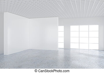 Empty white billboard in a big bright room. 3D rendering