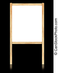 Empty white board with wooden frame isolate on black background.
