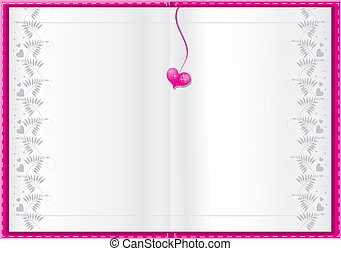 empty white book background for your text with pink heart