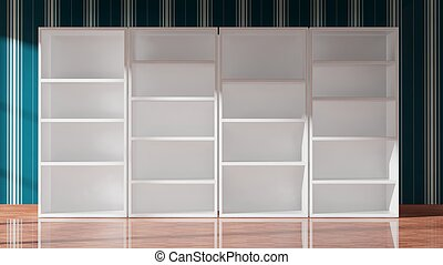 Empty white bookcase, 3d rendering