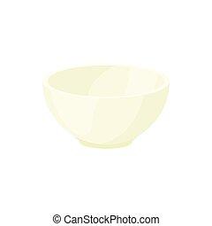 Empty white bowl icon, cartoon style