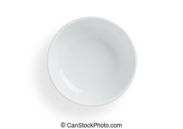 Empty white bowl on white background, clipping path included