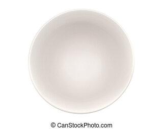 Empty white bowl on white background, top view