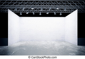 white empty stage mock up of blank template layout white empty