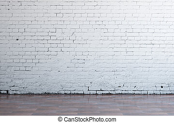 Empty white brick wall - Front view of interior with blank...