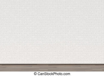 Empty white brick wall with wooden floor. 3D illustrating.