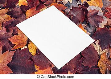 empty white card mockup lying diagonally on fall leaves background