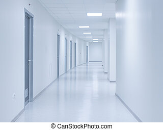 Empty white corridor background with doors