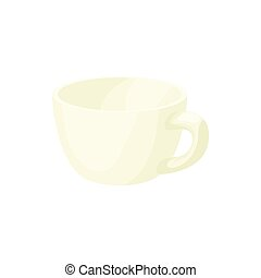 Empty white cup icon, cartoon style